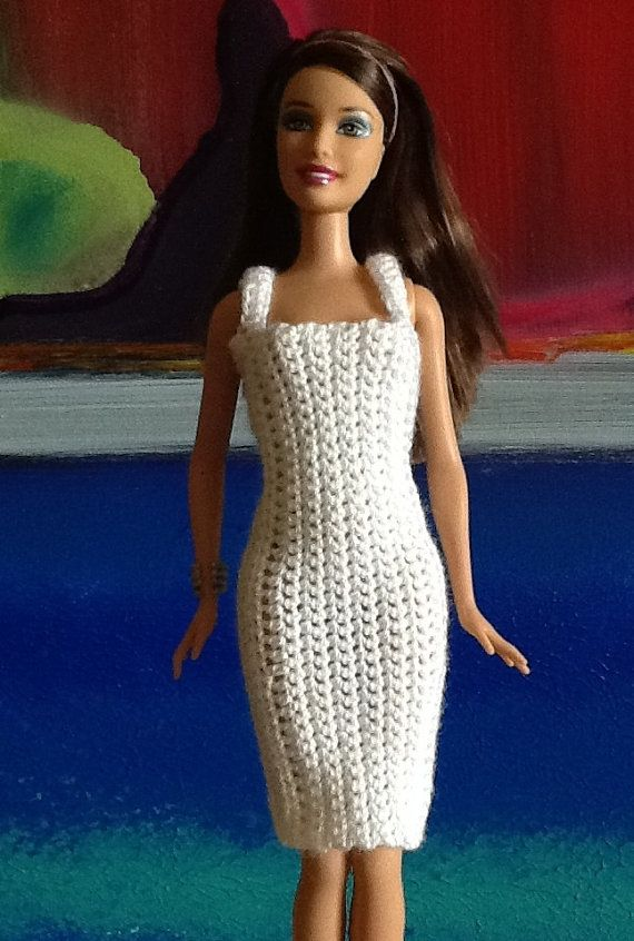 White dress for Barbie or fashion doll. OOAK | Barbiekleidung ...