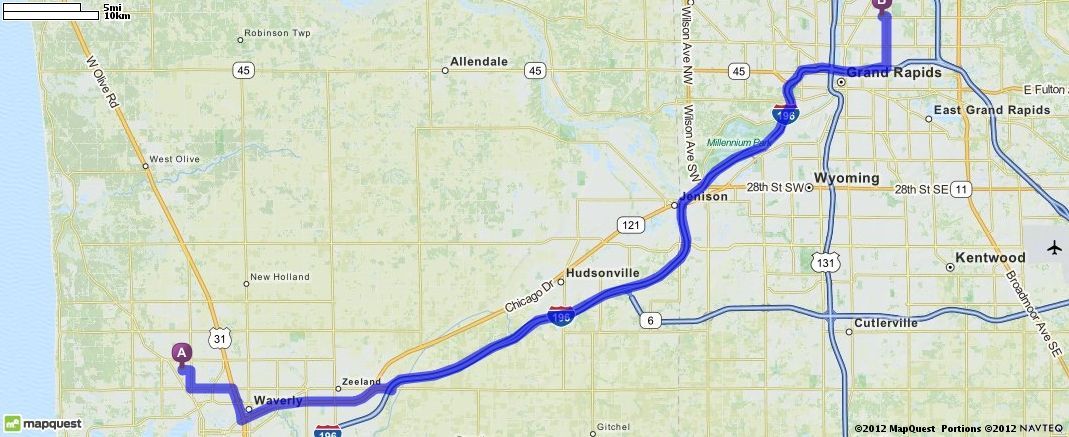 Driving Directions from 779 Maywood Ave, Holland, Michigan 49424 to Grand Rapids, Michigan 49505 | MapQuest