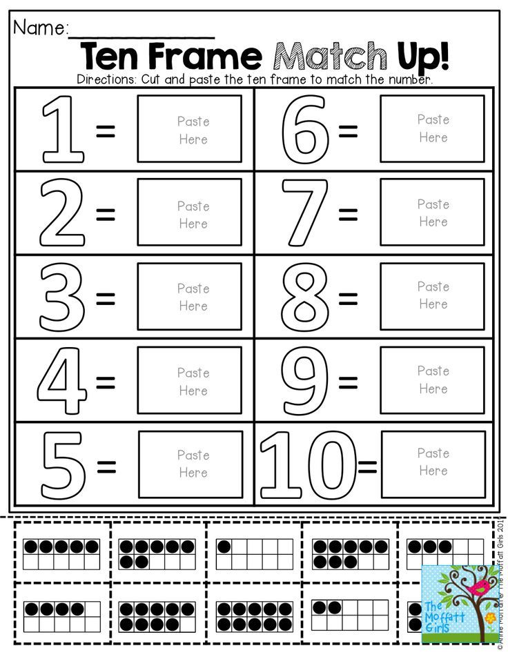 Ten Frame Match Up! Cut and paste the ten frame to match the number ...