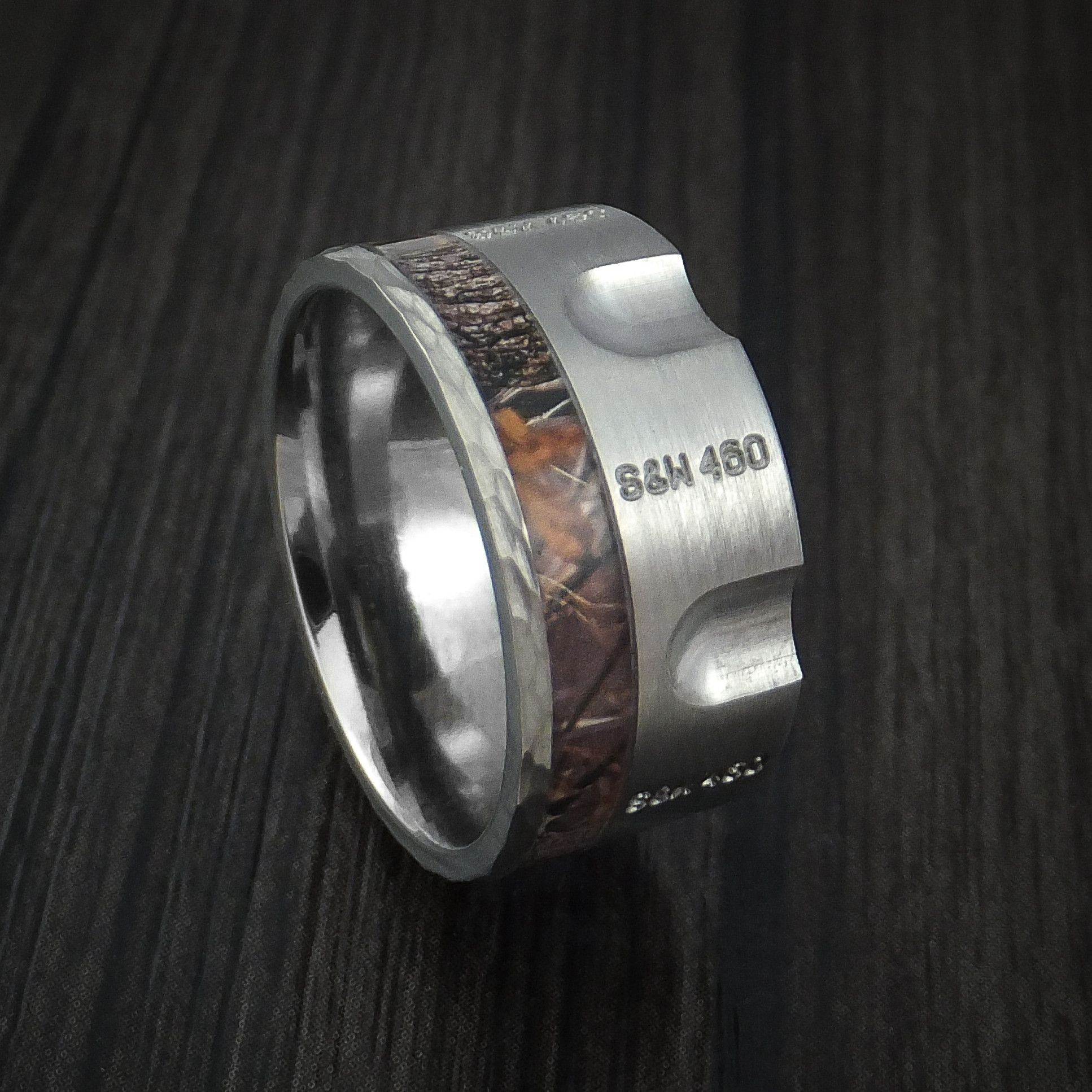 Titanium Revolver Ring with Kings Camo Woodland Shadow ...