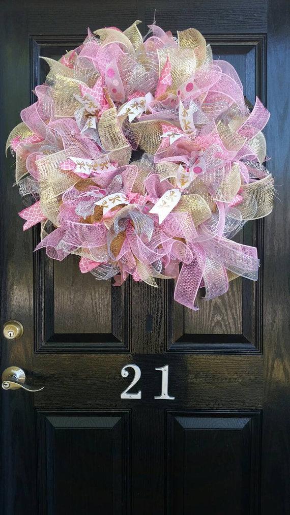 Large Mesh Wreath Baby Shower Hospital Door Nursery Pink