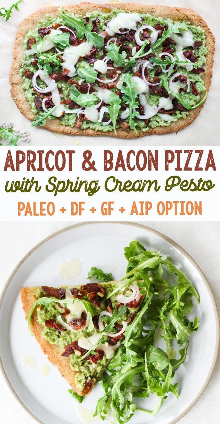 Apricot and Bacon Pizza with Spring Cream Pesto Paleo Grain Free AIP Option