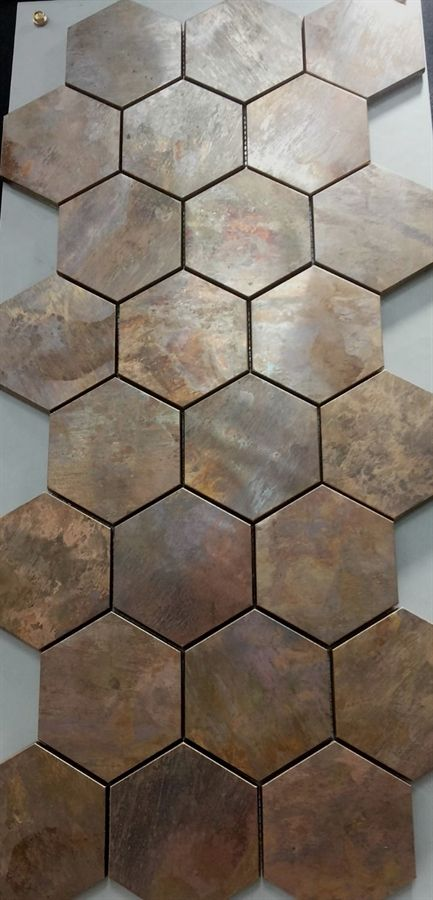 China Hexagonal Copper wall tile in bronze brushed for kitchen backsplash A6YB132-in Mosaics from Home Improvement on Aliexpress.com | Alibaba Group #BacksplashKitchen #kitchenbacksplash