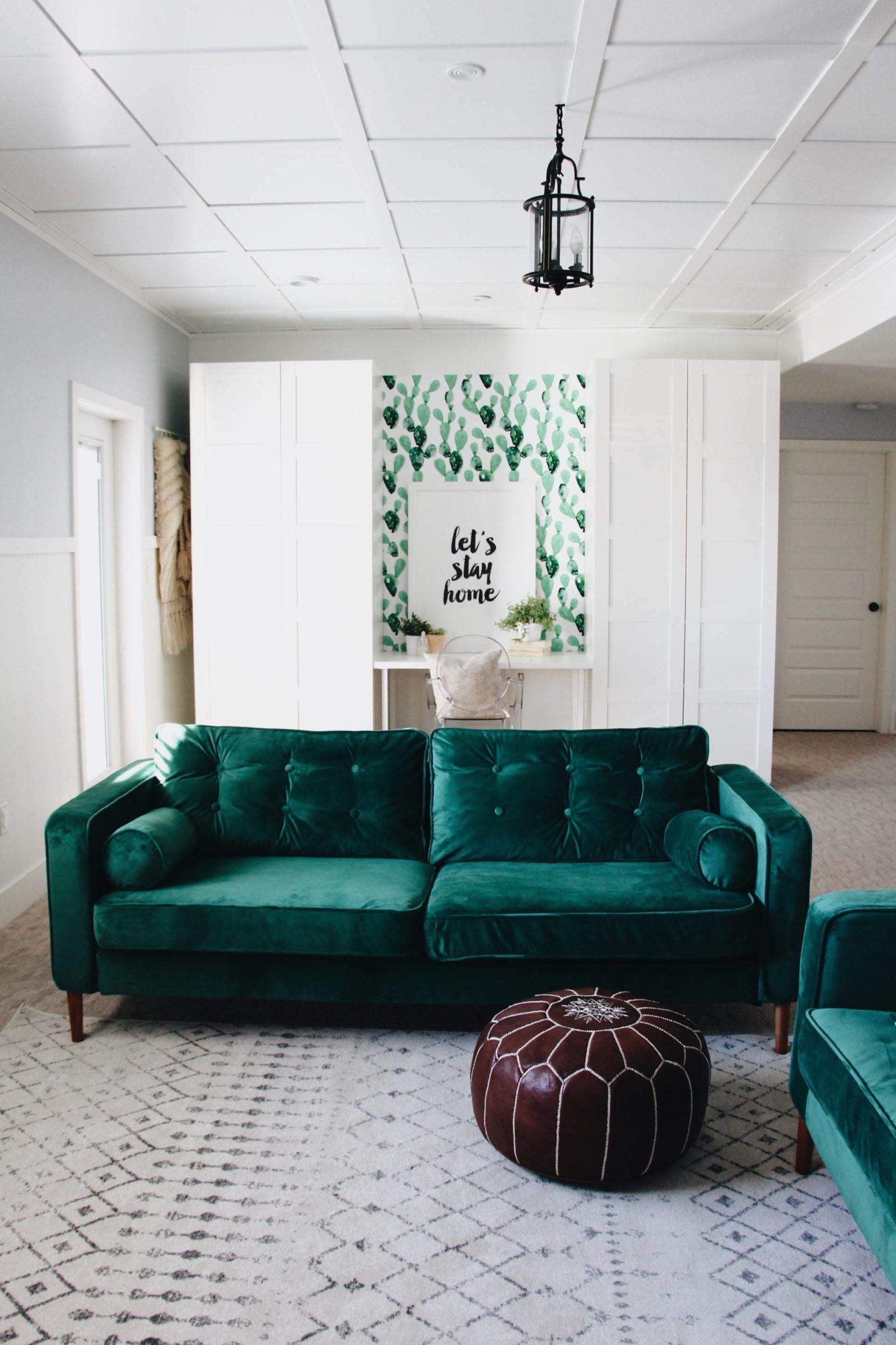 Custom slipcovers in velvet for the Ikea Karlstad from Comfort Works: https://comfort-works.com/en/karlstad-sofa-covers-70