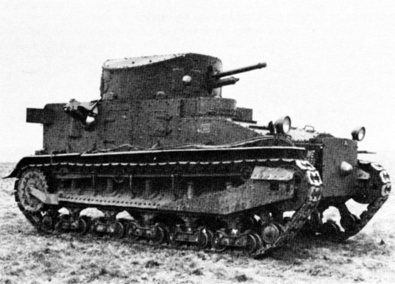 The Vickers Medium tank Mk.I was another famous interwar British tank. It was of the same early twenties generation, fitted with a full traverse three-man turret (for the first time in the world), new suspension system, and a quick-firing 3 pdr (47 mm/1.85 in) gun. 200 were built and phased out for training in 1938. The next Medium Mk.II was mostly similar but improved during many years. Production stopped in 1934. Many were reactivated and served in secondary duties during early WW2.