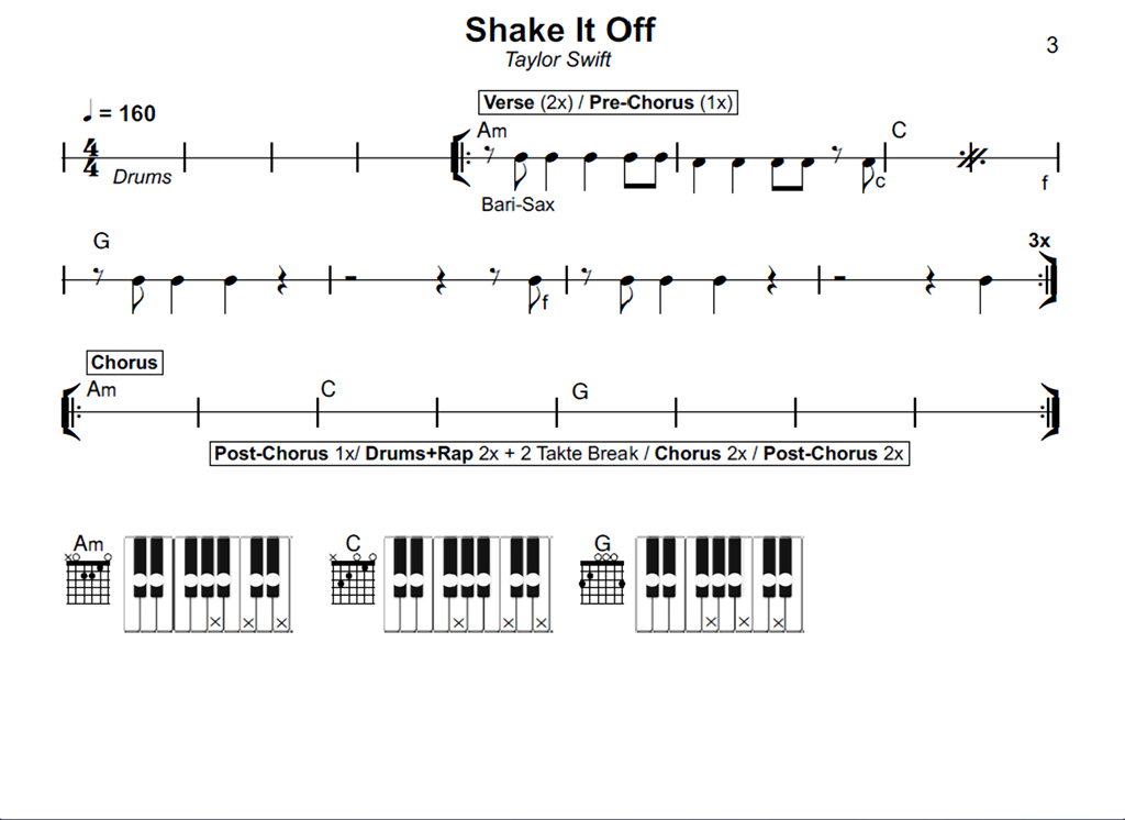 Chords - Taylor Swift - Shake It Off | Chords, Leadsheets, Notes ...