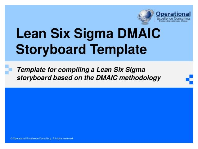 Lean Six Sigma Storyboard Template  Lean Thinking