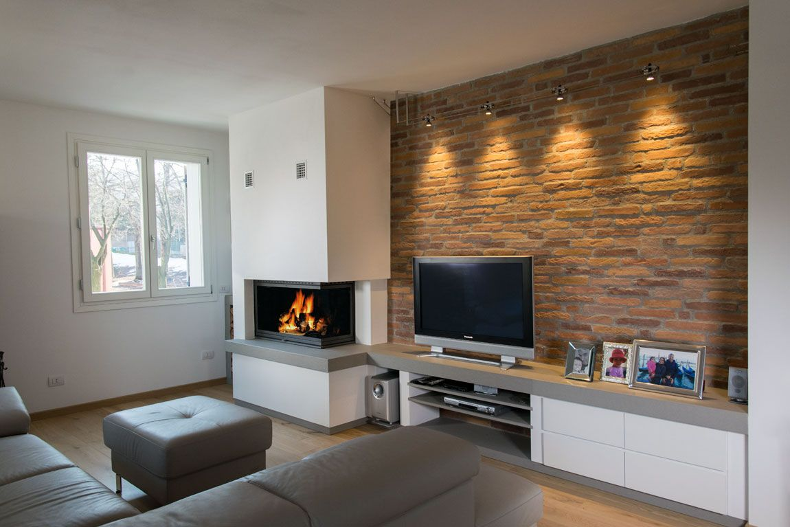 Modern factory style fireplace made with grey stone white - Caminetti moderni a parete ...