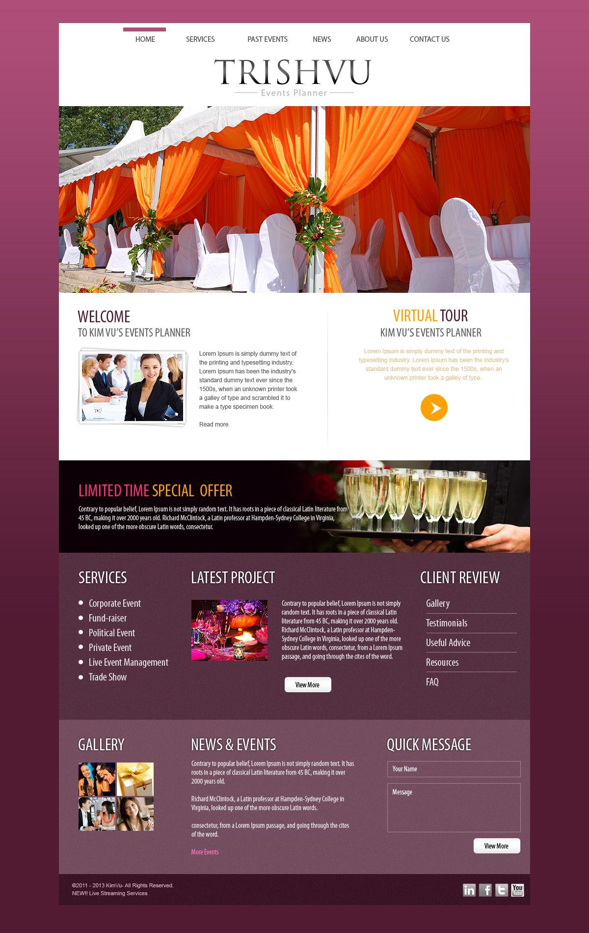 Event Planner Business Website Inspiration Wedding Public Relations Motivational Speaker