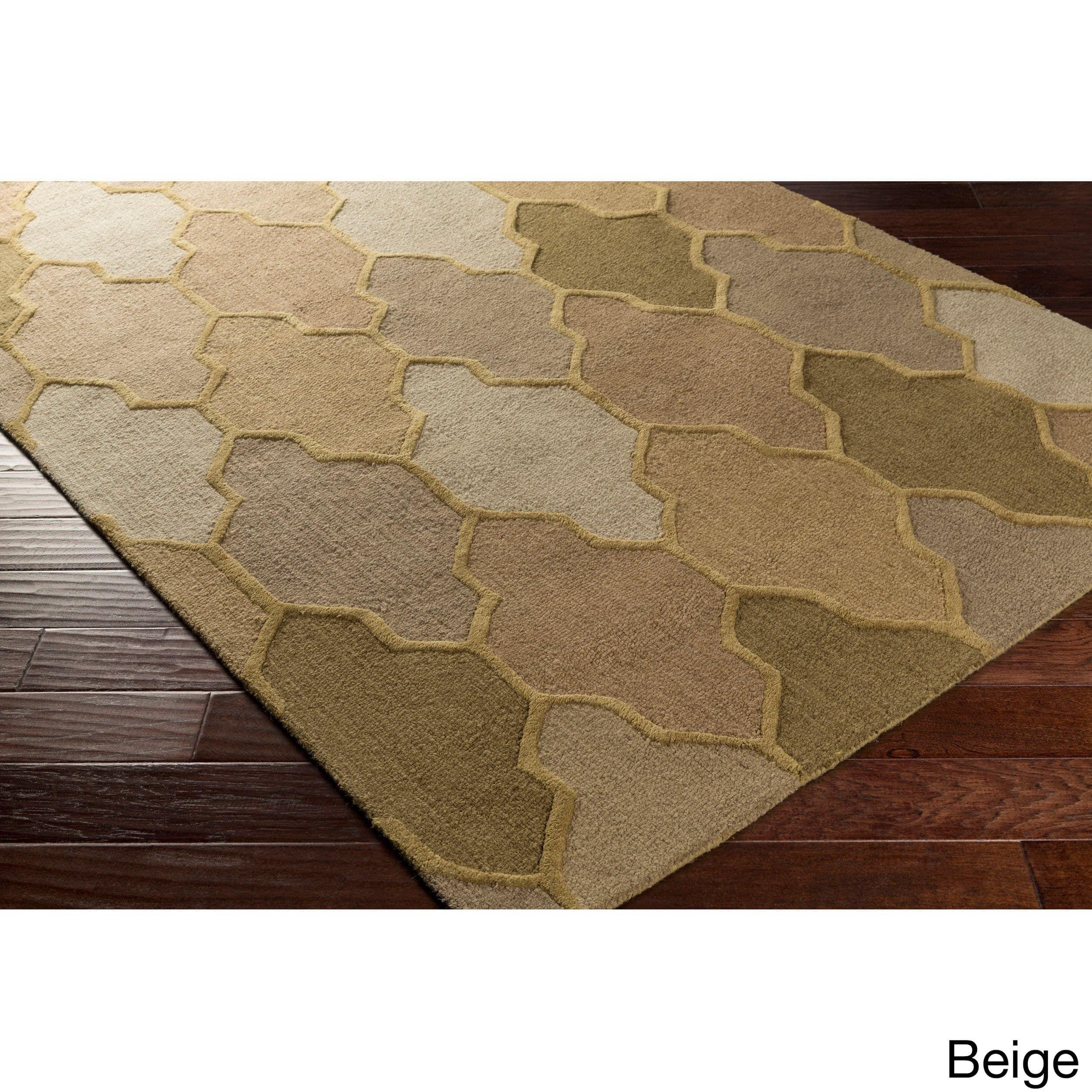 Hand Tufted Ryde Moroccan Trellis Wool Rug 3 X 5 Beige Gold
