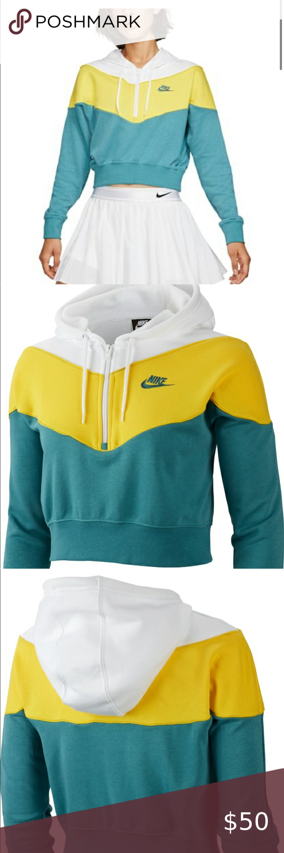 Nike Heritage Chevron Cropped Hoodie Nike Heritage Chevron Cropped Hoodie Size Large Loose Fit Super Soft Inside New Wit Cropped Hoodie Hoodies Clothes Design [ 1740 x 580 Pixel ]