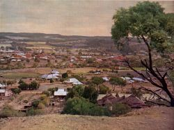 TWA-0046067 © WestPix Western Mail colour - Pic taken from a direct natural colour photograph. Supplement to 'The Western Mail', June 25, 1936.  York - Overlooking York from the reservoir hill. The town was founded in 1831 and is the centre of one of the finest wheat farming districts of Western Australia.