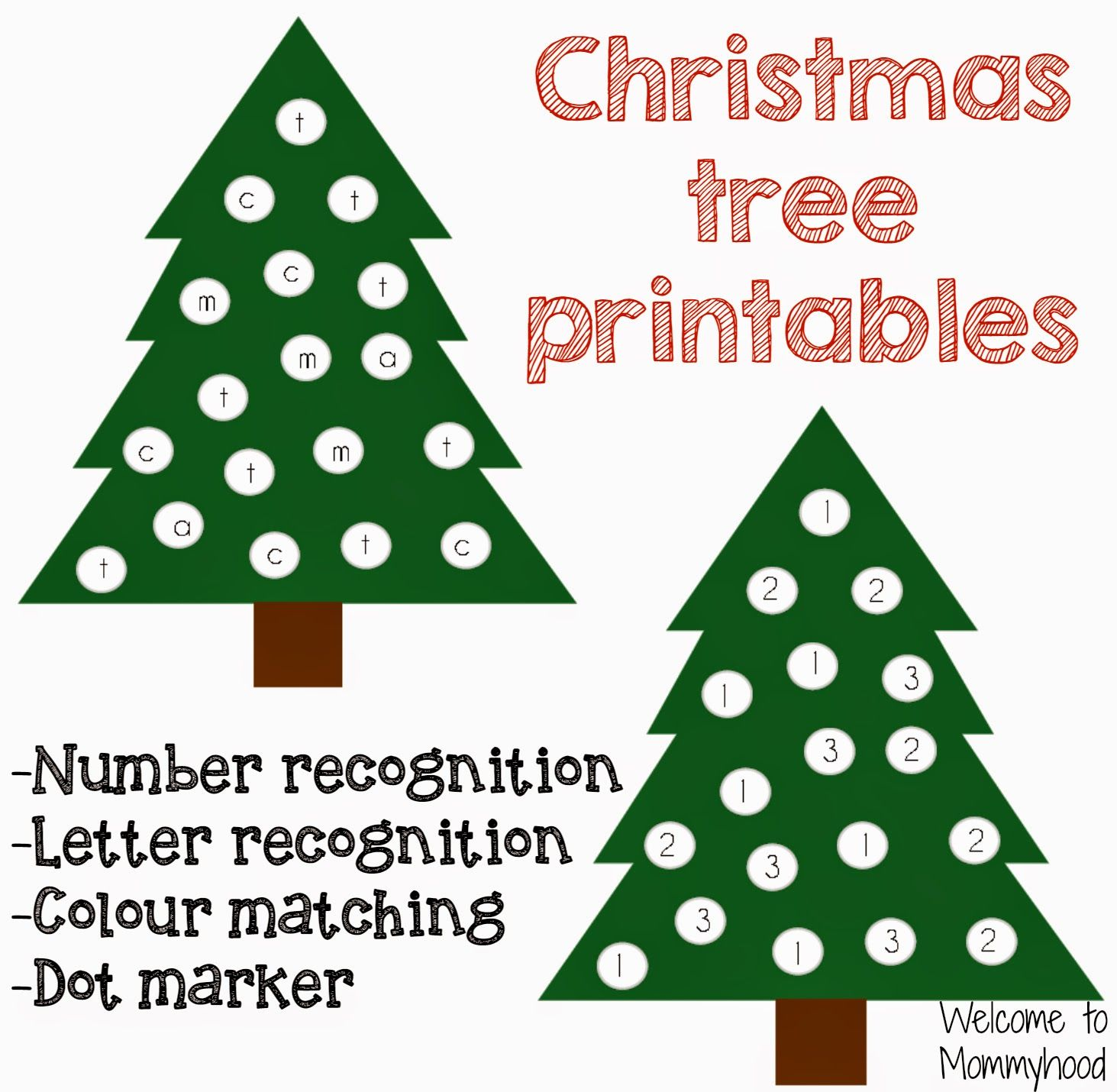 Christmas Tree Printables (free; from Welcome to Mommyhood ...