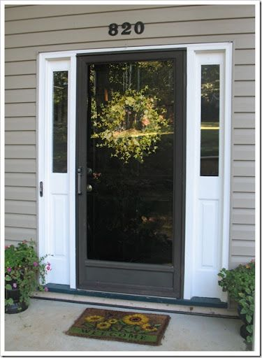 Charmant Black Storm Door With Black Front Door? Yes, But With Black Sidelights Too,  White Trim Between.