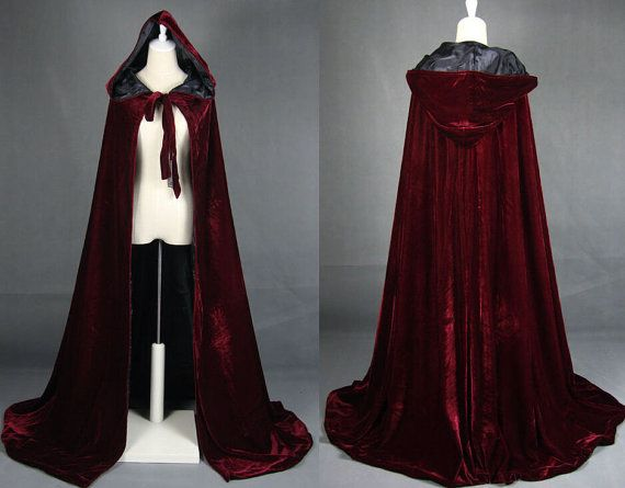 Long red cloak hooded style medieval cosplay 5XeluMze7