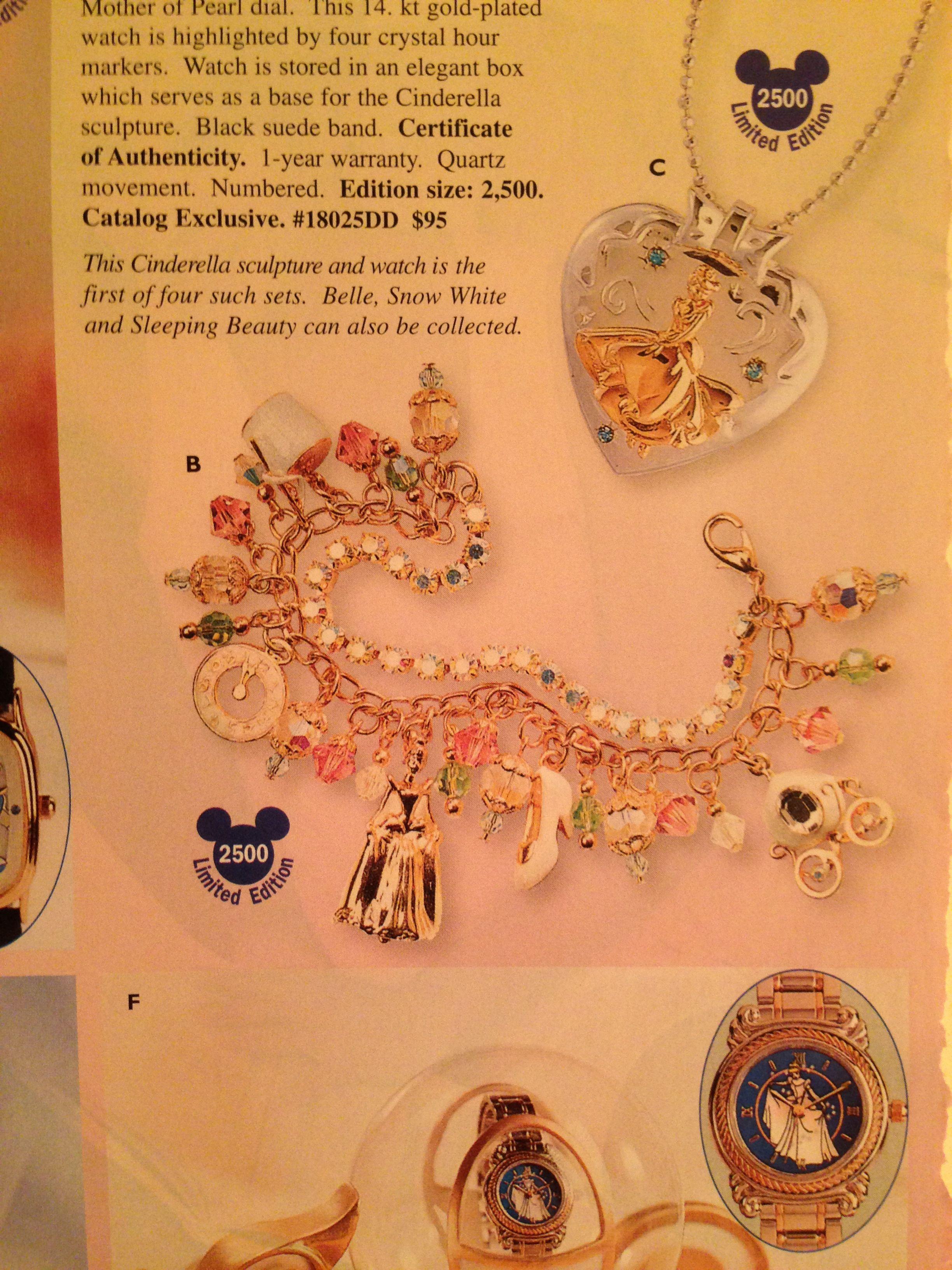 Cinderella Locket and Crystal Charm Bracelet Disney Catalog