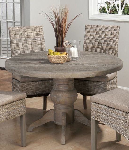 Jofran Burnt Grey 48 Inch Round Dining Table W Fixed Top