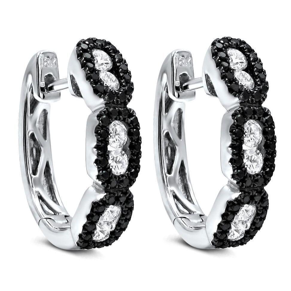 Noori 18k White Gold 1ct Tdw Black Diamond Hoop Earrings G H Si1 Si2 11417 Women S Size Medium