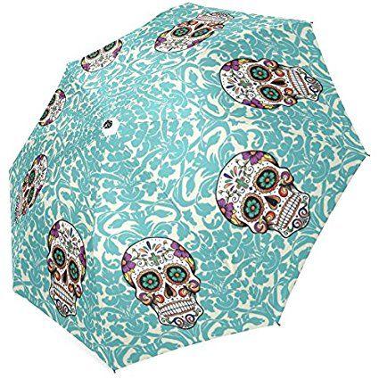 InterestPrint Stylish Sugar Skull Foldable Umbrella 43