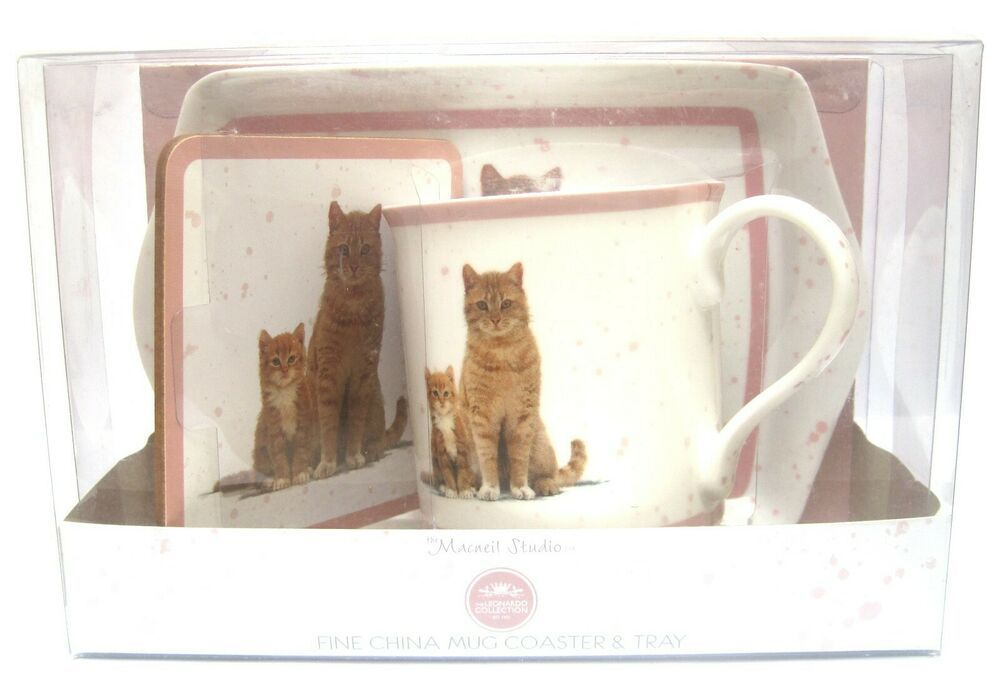 Cute Ginger Mum Cat with Ginger Kitten Fine Bone China Mug, Coaster and Tray Set #gingerkitten