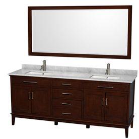 Wyndham Collection Hatton Dark Chestnut 80-In Undermount Double Sink Birch Bathroom Vanity With Natural Marble Top (Mirr