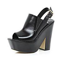 Black peep toe platform mules