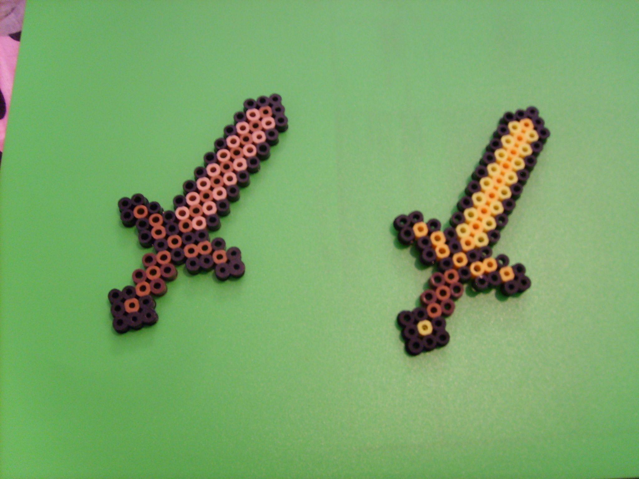 Minecraft Chicken Leg Ghast Heart Sword Torch Perler Beads