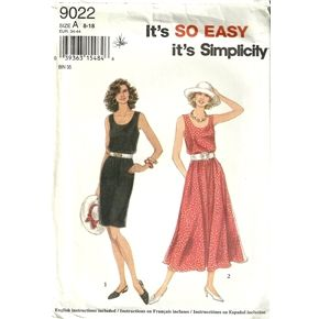 Simplicity 9022 Misses Easy Tank Dress Sewing Pattern Size 8 - 10 - 12 - 14 - 16 - 18