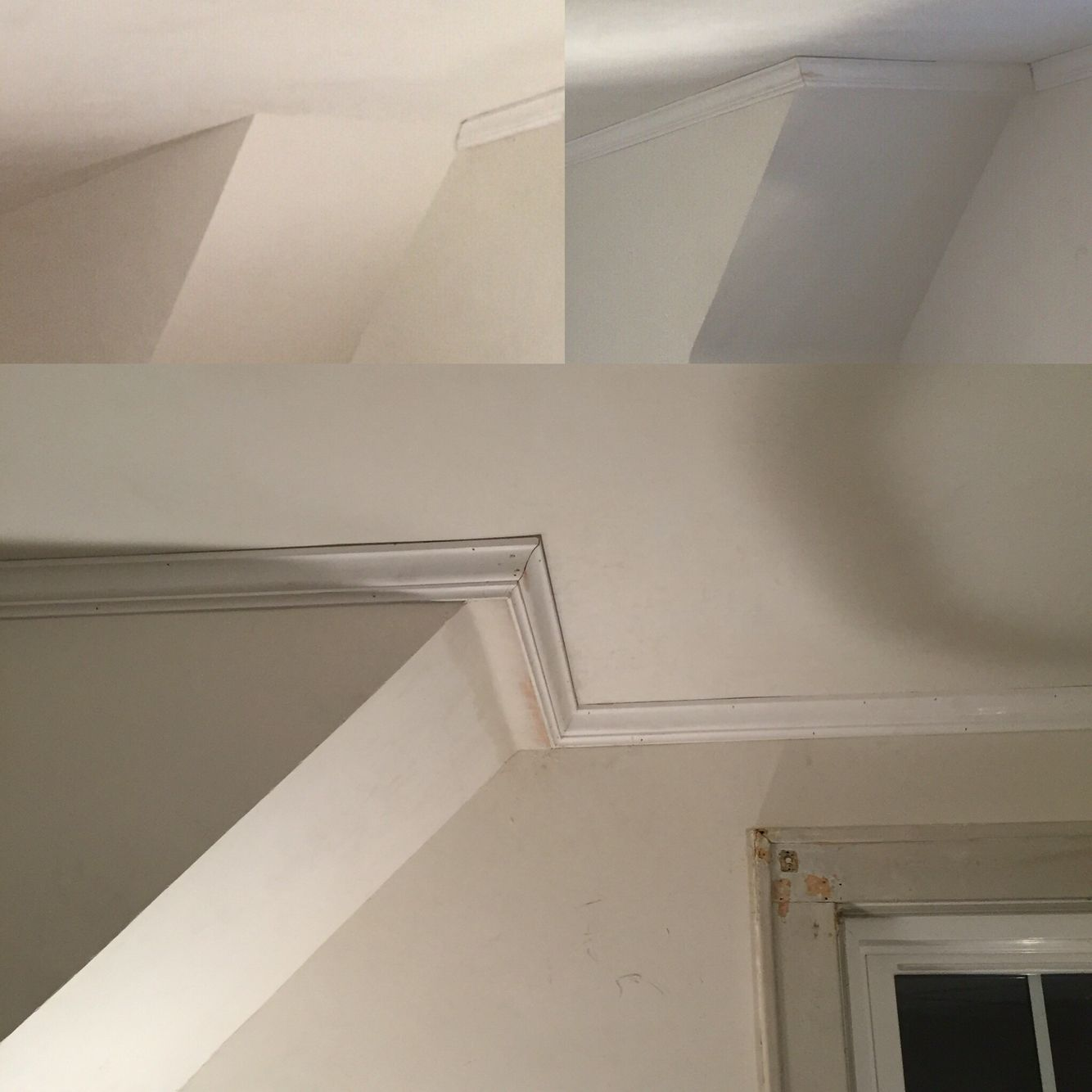 Solution To Crown Molding In A Room Mixed With 90 Degree And 45 Degree Walls A Mini False Wall False Ceiling Design False Ceiling Ceiling Beams Living Room
