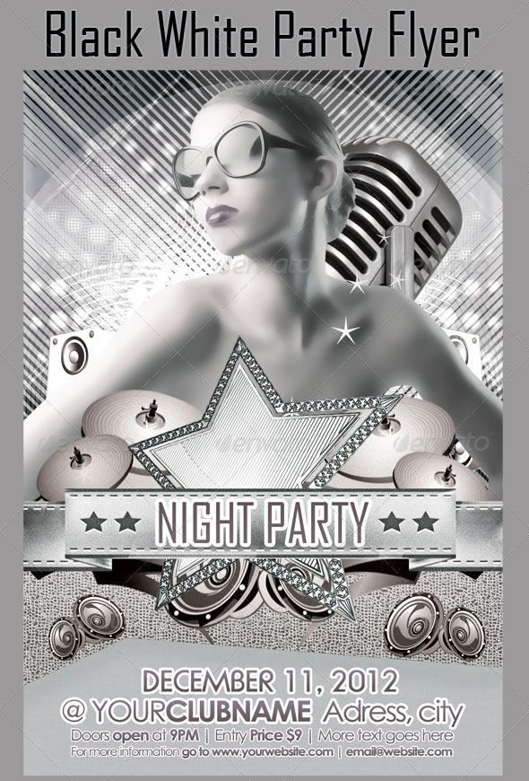 Black White Party Flyer  White Party    Black White