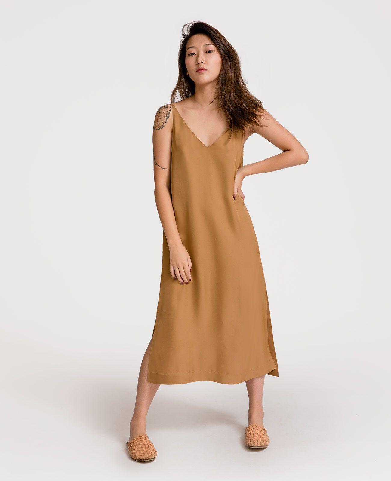 8c15b137344d Silk V-Neck Slip Dress in 2019   stylistic goals   Dresses, Dress ...