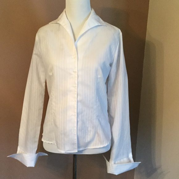 2 for $10 or $7 Each !  White blouse with 5 buttons in front. Pin striping with lots of darts to accentuate all you curves  Long sleeves with button cuffs. Pretty collar  This would look great with pencil skirt or slacks or even jeans with cool necklace  Lots of options for this stunner!! B. Moss Tops Blouses