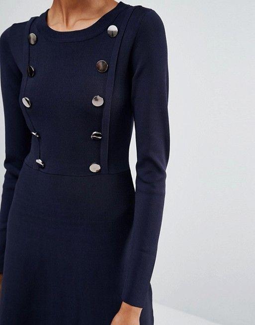 Y.A.S Tall | Y.A.S Tall - Elina - Vestito a pieghe in maglia con abbottonatura frontale