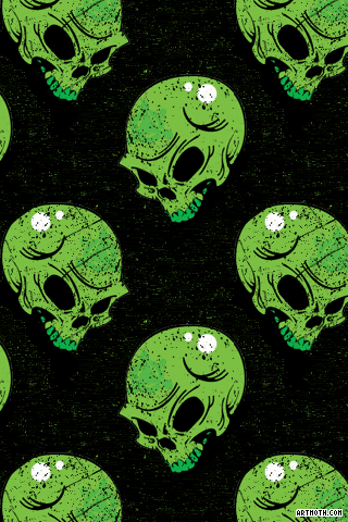 Green Skulls On Black Iphone Wallpaper Iphone Wallpaper Wallpaper Artwork
