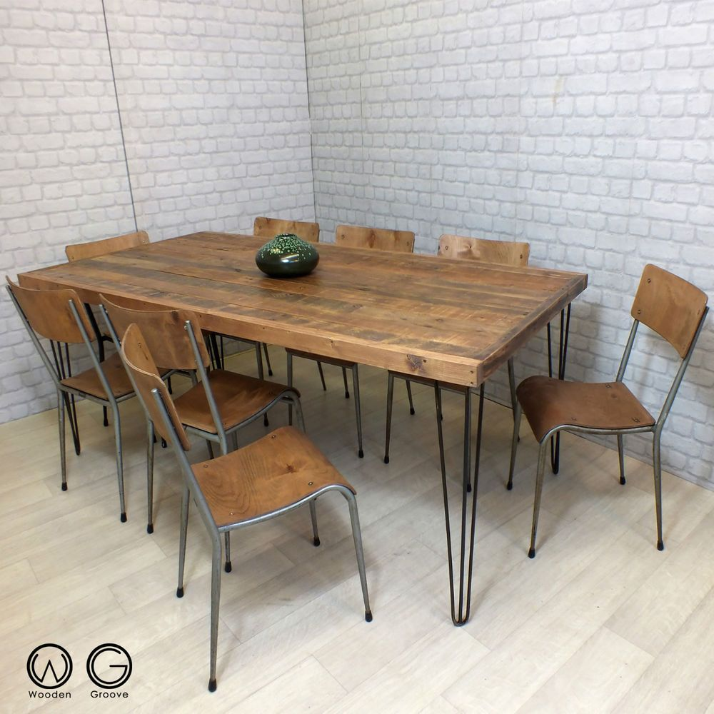 hairpin legs vintage industrial reclaimed timber mid century dining table 1960s - Kitchen Tables Ebay