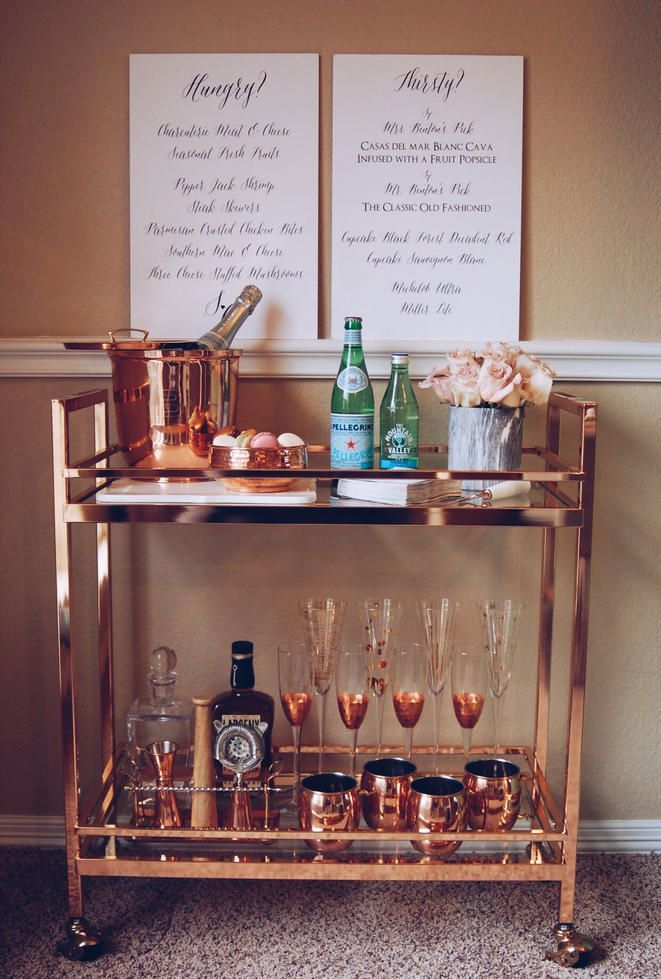 One Of My Favorite Looks Is This Rose Gold Bar Cart By Grace And Merriment Added Bling To Spice Up Your Style Bar Cart Decor Bar Cart Styling Home Bar Decor