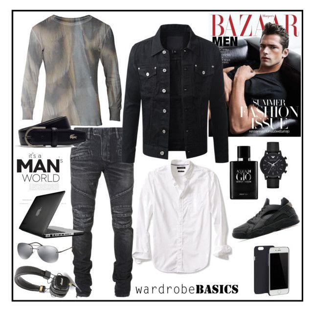 """Wardrobe Basics: Menswear"" by k-ravasio ❤ liked on Polyvore featuring Balmain, Banana Republic, Speck, Prada, C6, Lacoste, Giorgio Armani, Emporio Armani, Marshall and NIKE"
