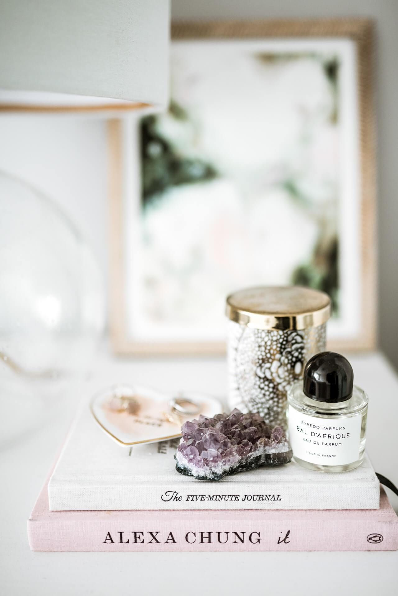 Bedside Table Styling With Candle And Perfume Bedside Table