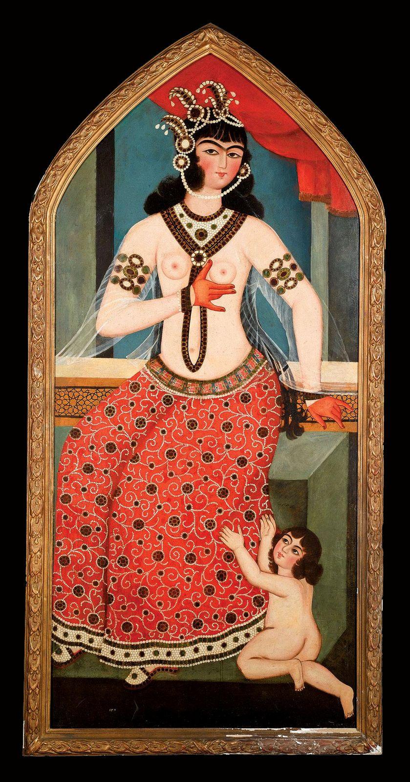 مادر و کودک، منسوب به محمد حسن، حدود 1810-1830 ترسایی، رنگ روغن روی بوم، 188.3 در 86.6 سانتیمتر A mother and child, attributable to Muhammad Hasan, Persia, Circa 1810-1830, oil on canvas 188.3 by 86.6cm.