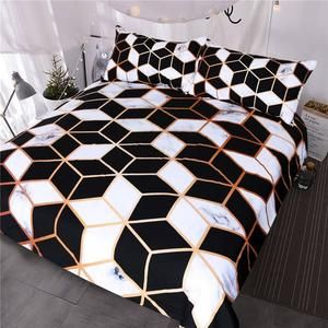 BlessLiving Irregular Geometric Printed Bedding Set Black and White Duvet Cover Set Marble Texture Bed Cover Queen Bedspreads