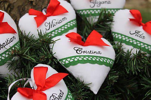 Vianočné srdiečka s menom