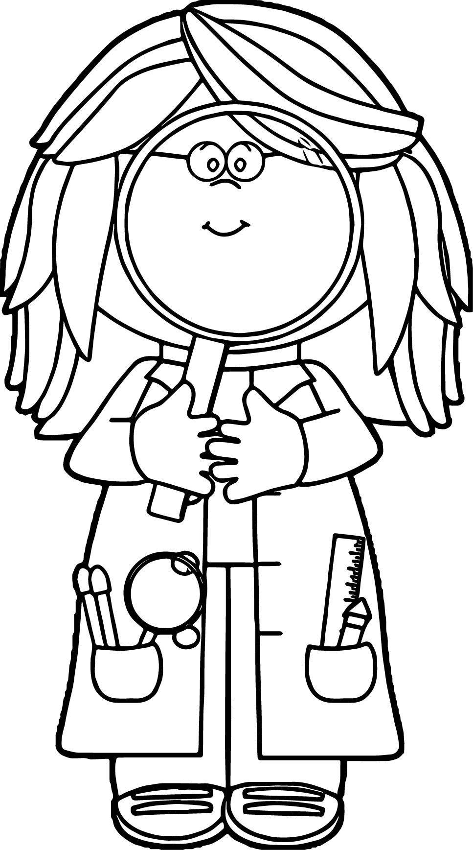 Kid Scientist Looking Through Magnifying Glass Coloring Page