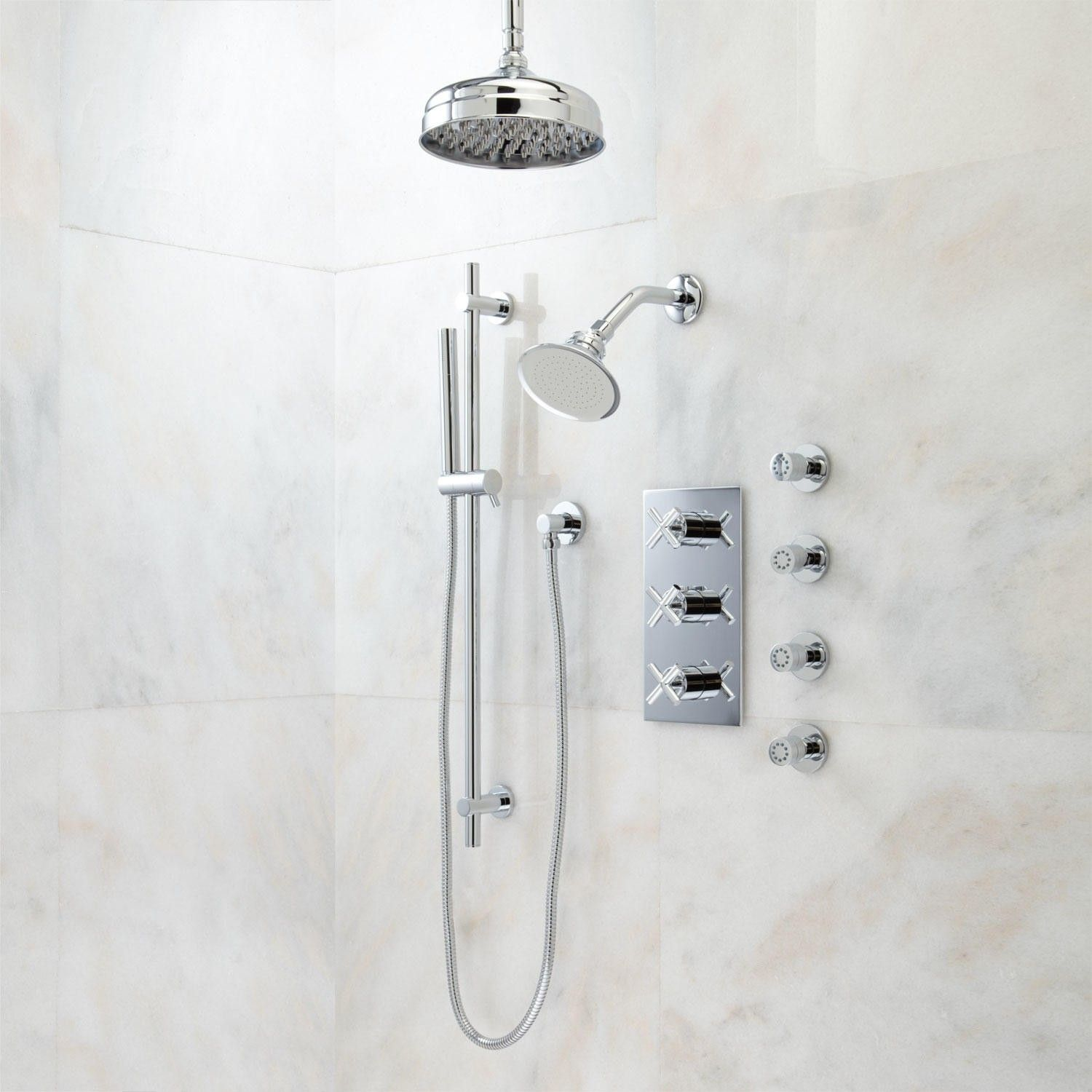 Exira Thermostatic Shower System - Dual Shower Heads, Hand Shower ...