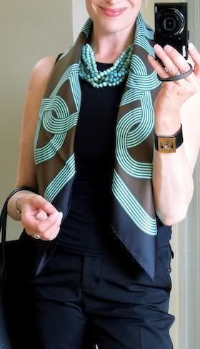 'Circuit 24 Faubourg' Hermès scarf in the basic bias fold. My favourite colours.