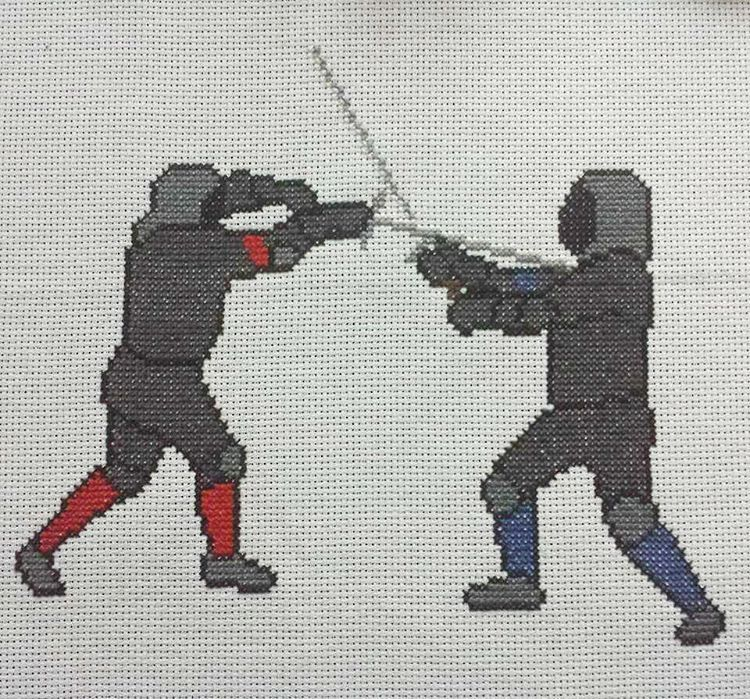 Historical European Martial Arts... Stitch it with the pointy end!   #crossstitch #crossstitchpattern #xstitch #embroidery #needle #needlework #diy #artisan #craft #italianart #8bit #8bitart #pixel #pixelart #hema #historicaleuropeanmartialarts #historicalfencing #fencing #sword #longsword #hema #martialarts