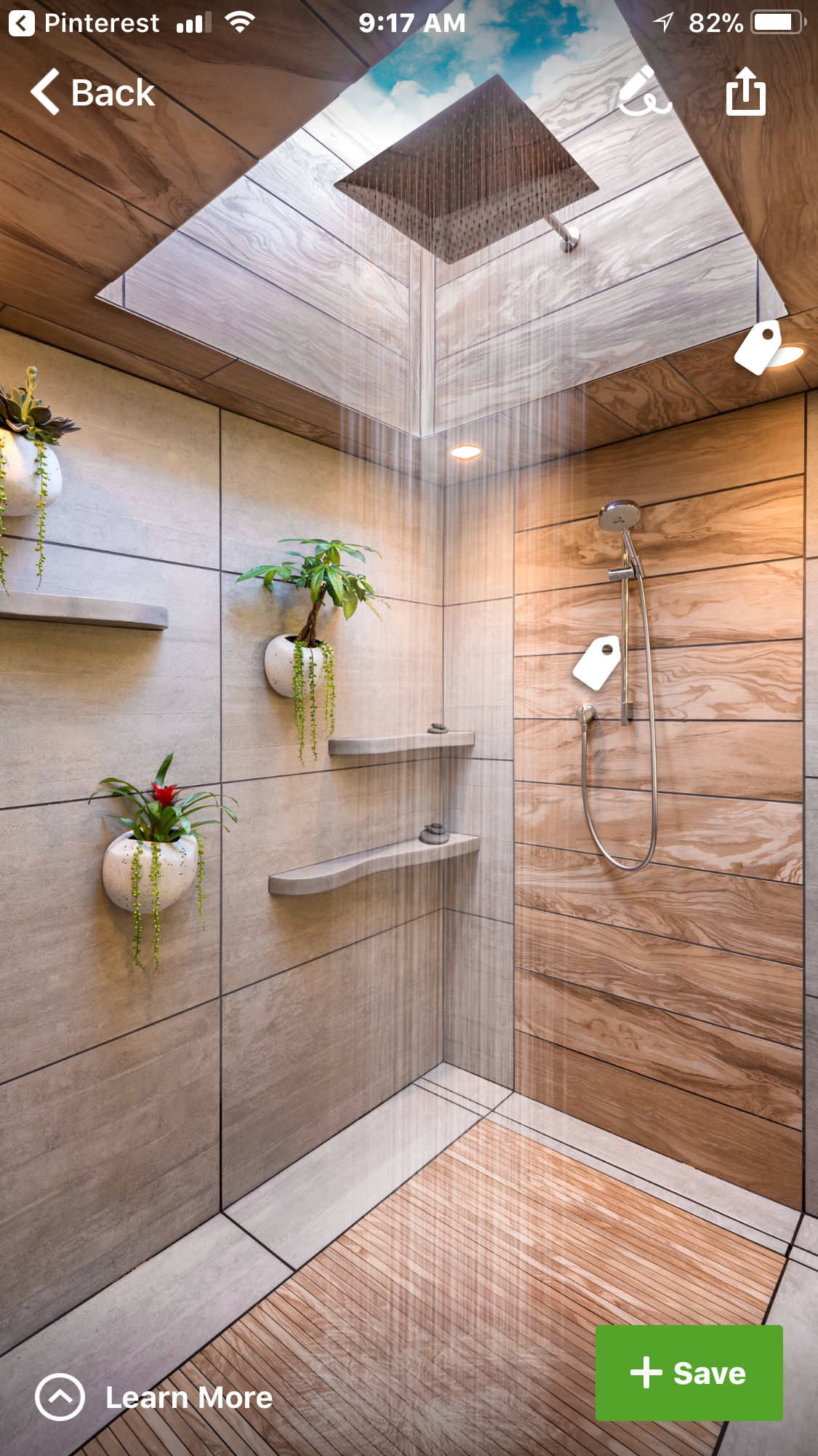 Spa shower with skylight and rain shower  Home design and