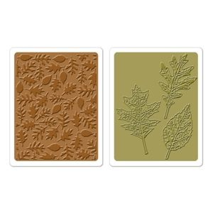 Sizzix Texture Fades Embossing Folders By Tim Holtz 2PK Textured Leaves Set # 658251