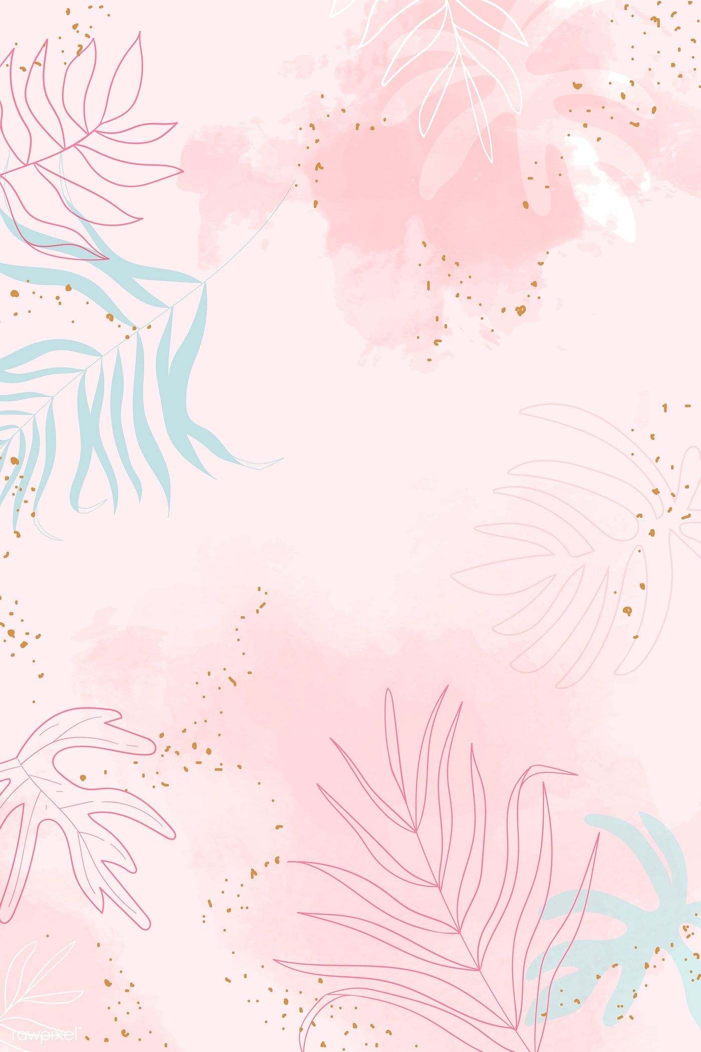Download Premium Vector Of Pink Leafy Watercolor Background Vector 1222788 Watercolor Background Backgrounds Tumblr Pastel Cute Patterns Wallpaper