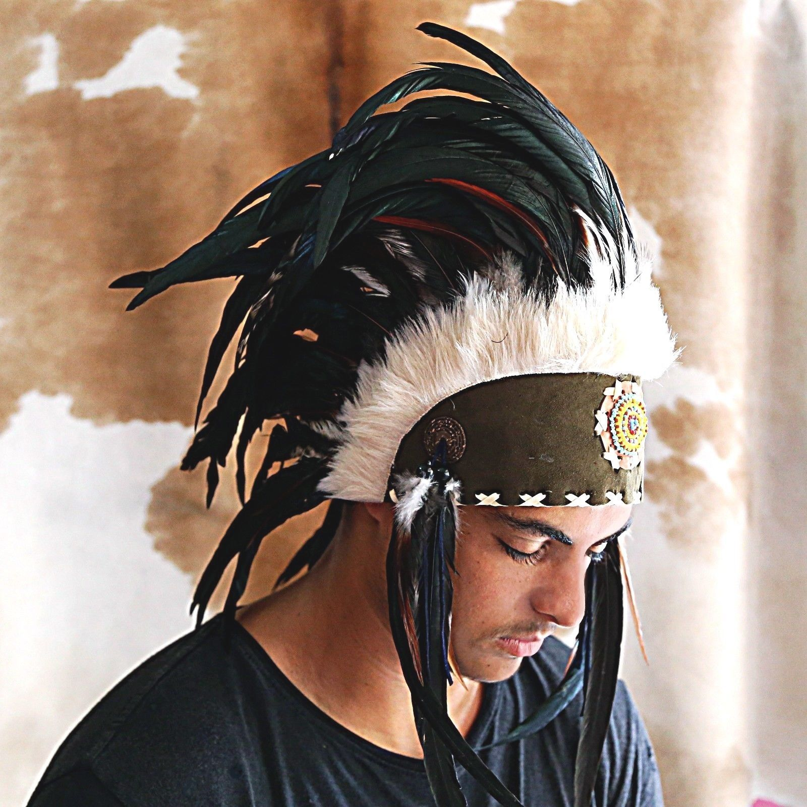Indian Headdress Adult Native American Costume Feather Chieftain tribal pow wow