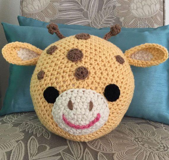 Crochet Giraffe pillow, crochet pillow, Giraffe pillow,Handmade ...